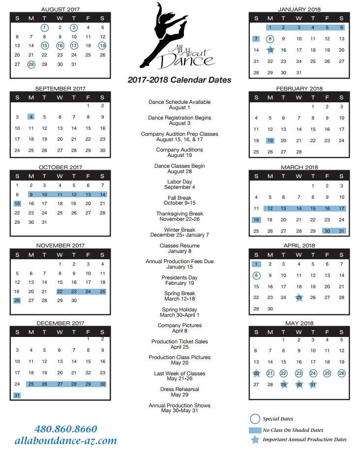 2017-2018 Dance Year Calendar